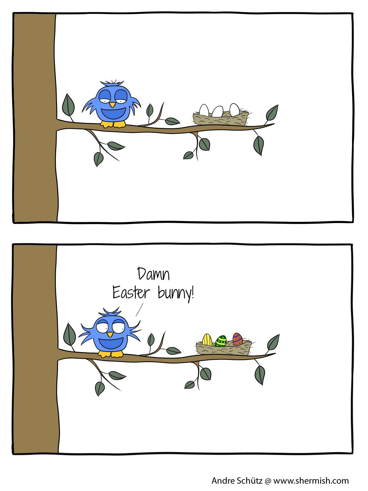 Birds: Protect your eggs - Damn Easter bunny