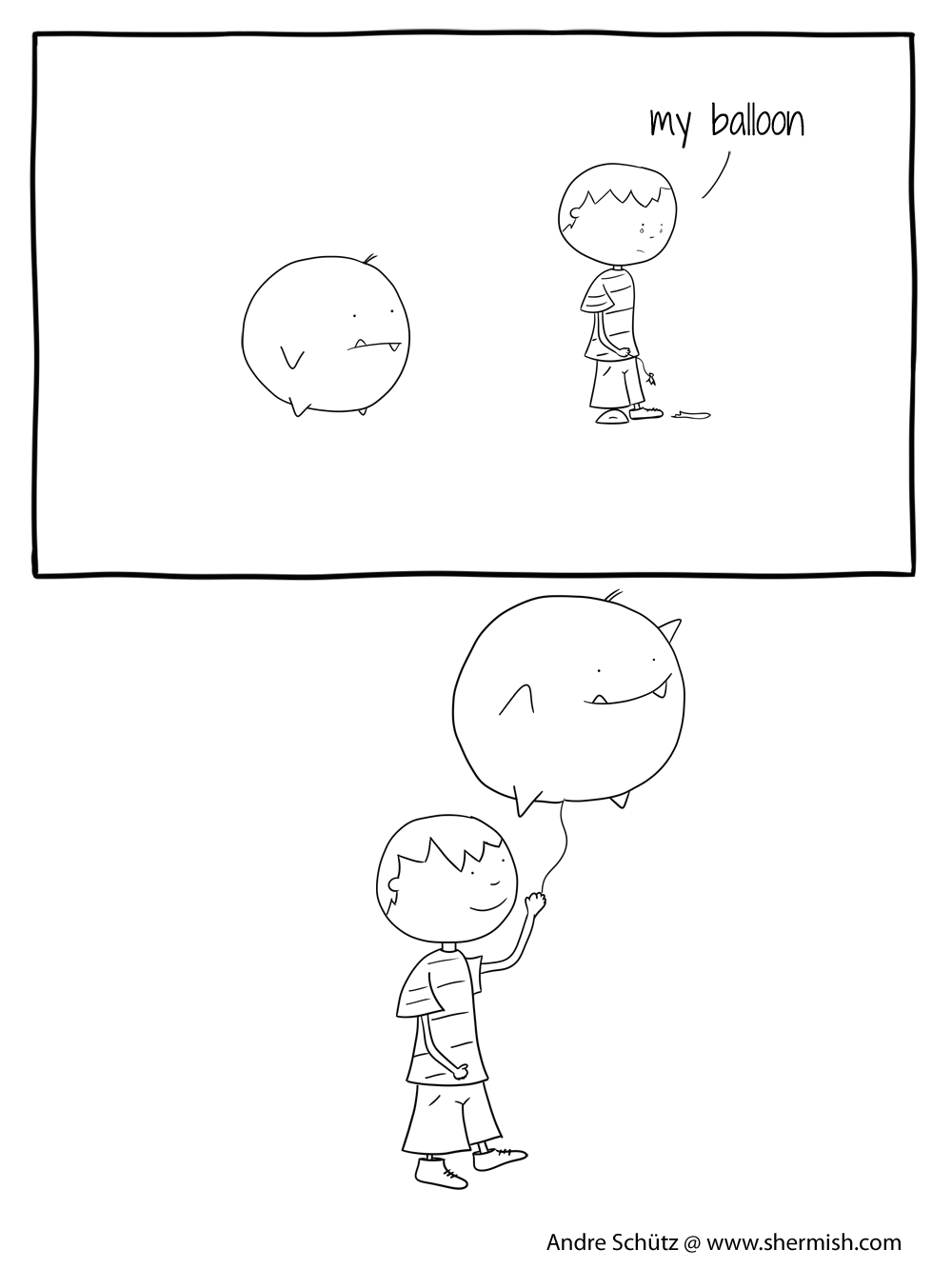 ghosts and monsters - inktober 2018 - balloon - shermish.com
